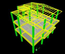 فایل محاسباتی ایتبس ساختمان ویلایی بتنی با سقف شیب دار فلزی